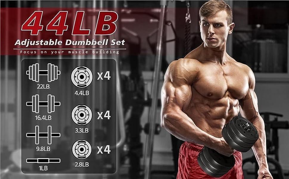44LB Adjustable Free Weight Set