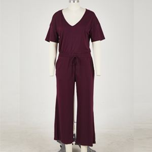 Wine red jumpsuit front view