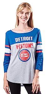 Ultra Game NBA Women's Assist Raglan Baseball 3/4 Long Sleeve Shirt