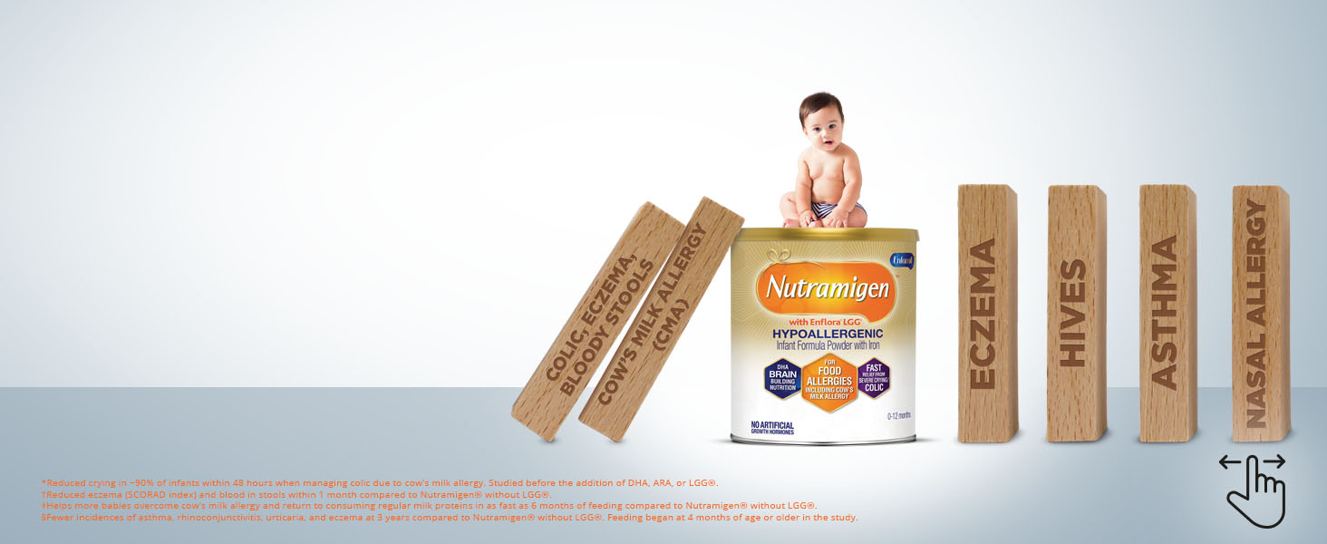 Baby on product with wooden dominos