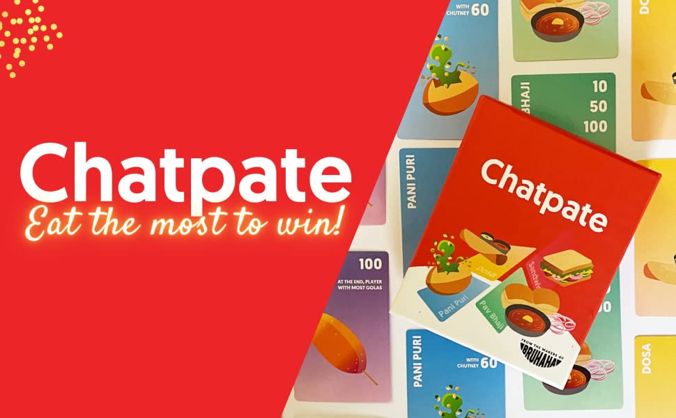 chatpate card game logo, party game, card game for adults, game for kids, foodie, food, sushi go