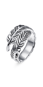 925 Sterling Silver Adjustable Feather Ring