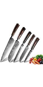 5pcs Ensembles de Couteaux de Cuisine