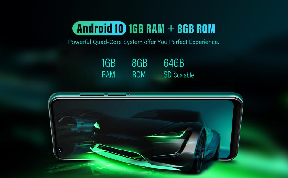 1GB RAM +8GB ROM  Android 10