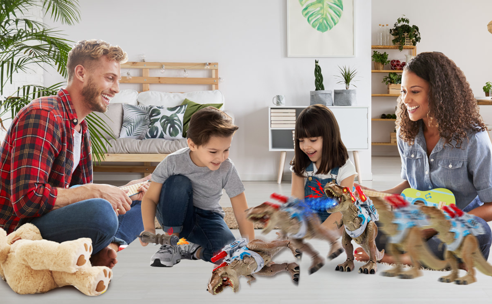 Boys and girls are playing with dinosaur toys with mom and dad in the living room
