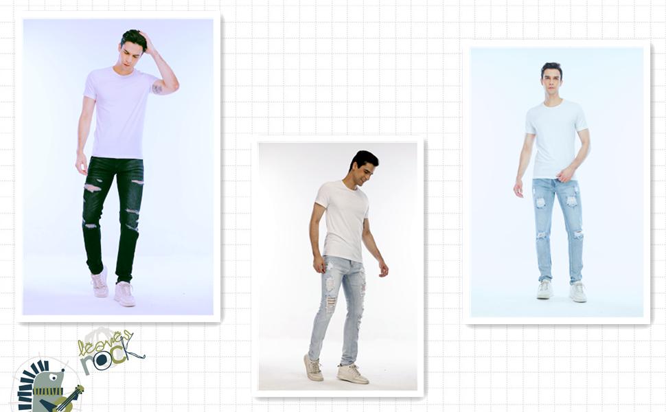 Men's stretch ripped jeans fashion denim