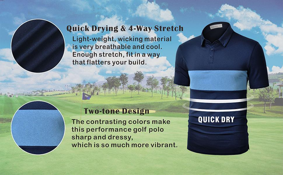 Quick Drying Two Tone Golf Shirt for Men