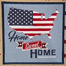 """DII 4th of July-themed """"Home Sweet Home"""" embroidered dishtowel."""