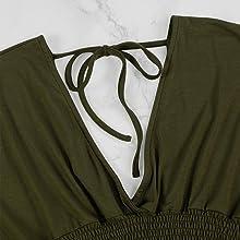 Plunge v neck, tie back design