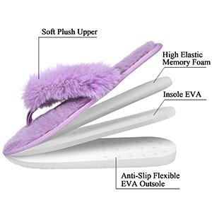 fuzzy thong slippers women