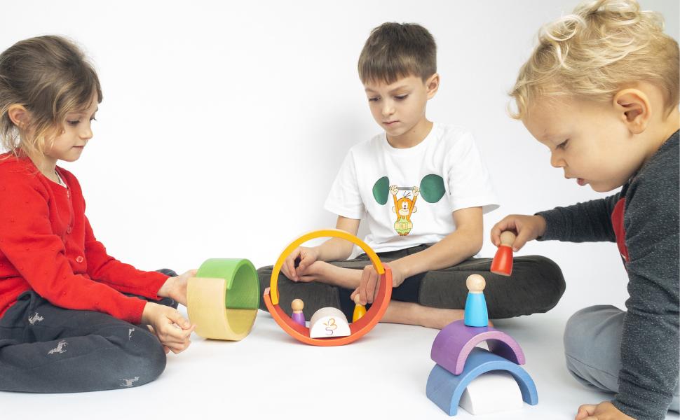 kids wooden rainbow set wood toddler girl boy building nesting stacking stacker peg dolls extasticks