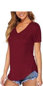 Women V-Neck T Shirts with Curved Hem