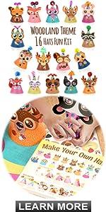 Glittery Garden woodland theme animal hats fun party kit