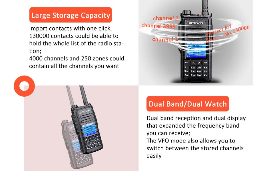 RT72 has 130000 contacts storage and dual band/dual watch make it very practical