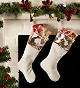 White Christmas stocking over a fireplace