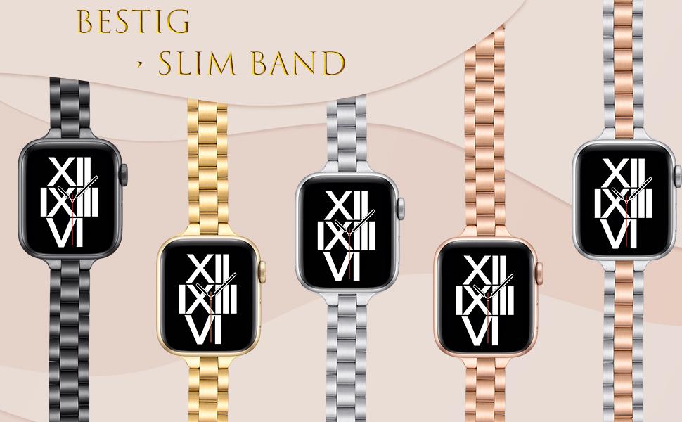 Bestig Slim Steel Bands-Black-Gold-Silver-RoseGold