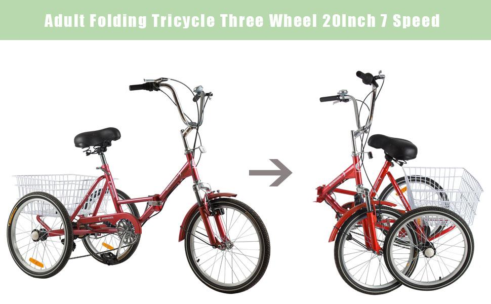 Barbella Foldable Tricycle with for Adults, Women, Men, Seniors