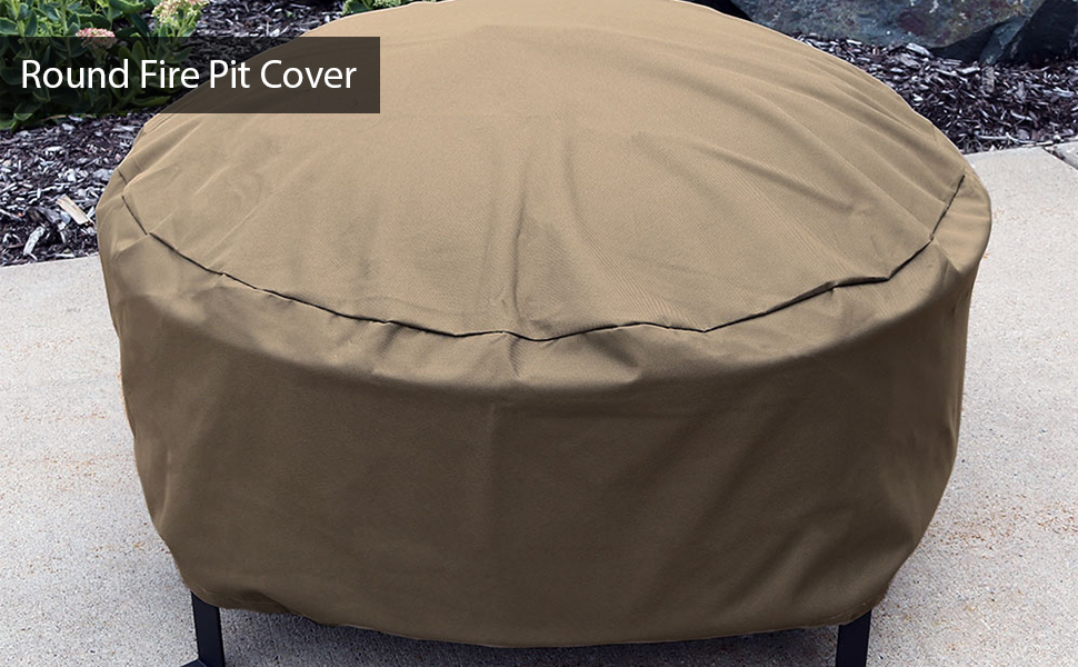 Durable Round Fire Pit Cover - Khaki