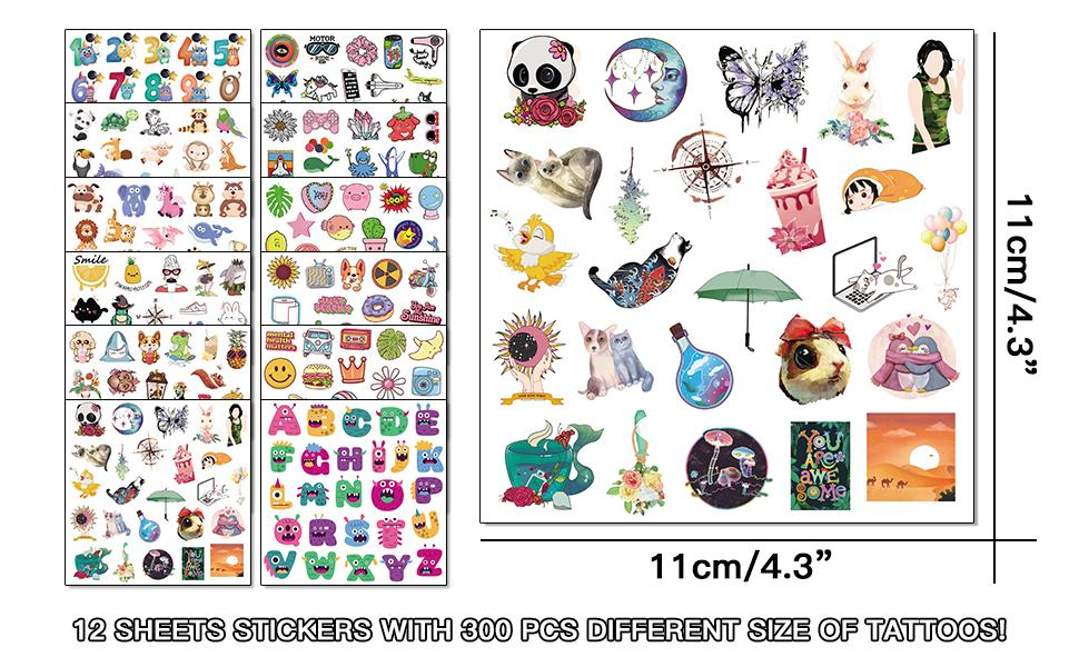 12 sheets stickers with 300 pcs different size of tattoos for kids
