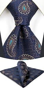 Blue Paisley Necktie Set for Men