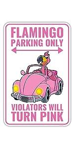 Flamingo Parking Sign