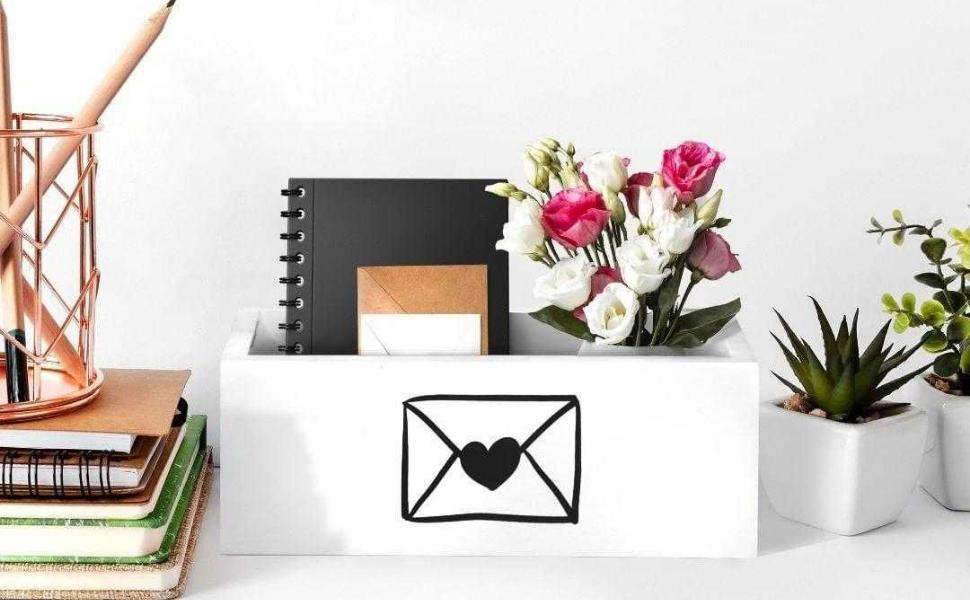 White Rustic Mail Organize Farmhouse Decor Box