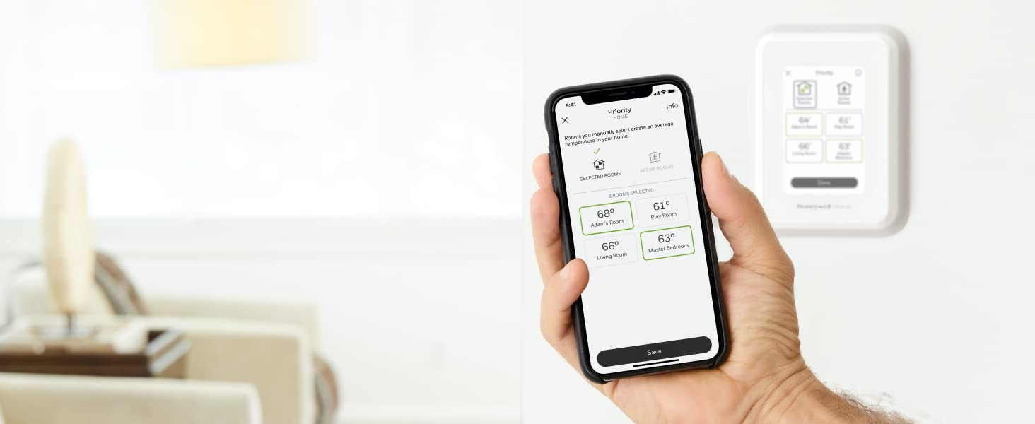 Controlling the T9 Smart Thermostat's room priority with the Honeywell home app