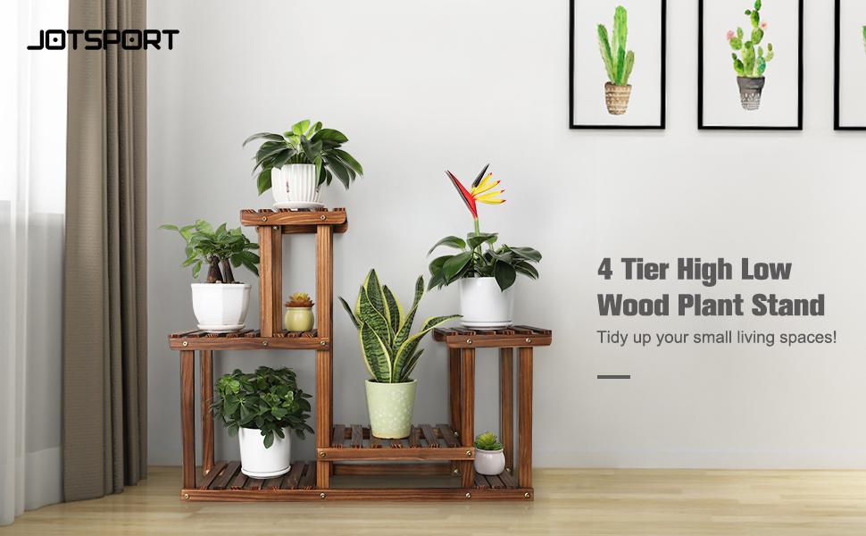 Jotsport 4 Tier High Low Wood Plant Stand