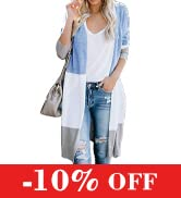 KIRUNDO Women's Open Front Long Cardigan Stripe Color Block Long Sleeves Lightweight Knit Fall Ou...
