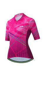 Uriah Women's Bicycle Jersey Reflective Short Sleeve with Rear Zippered Bag