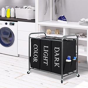3 section laundry sorter