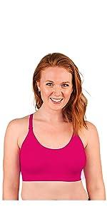 Model wearing pink nursing bra