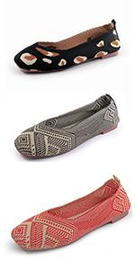 RVROVIC Women Flat Knitted Lightweight Slip-on Loafers Breathabel Soft Comfortable Ballet Flats