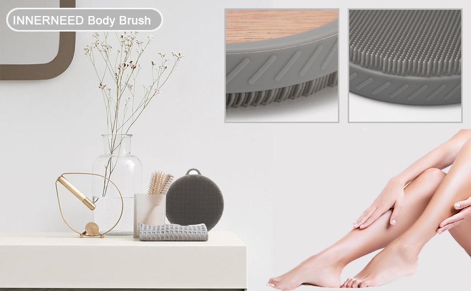 wooden back scrubber body exfoliating brush