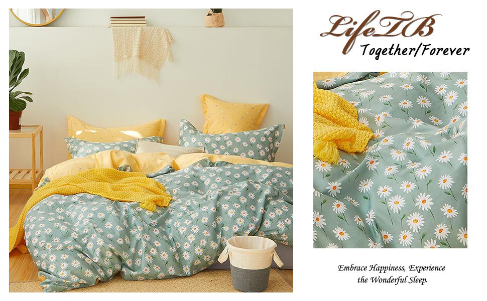 daisy floral duvet cover set