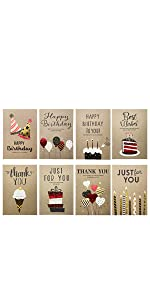 Blank Cards with Brown Kraft-Style Envelopes for Birthday
