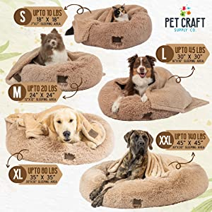 Pet Craft Supply Calming Bed + Blanket Sizing