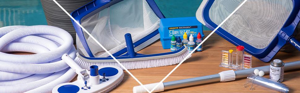 pool clean, pool water, pool hose, pool brush, pool rake, pool leaf cleaner, water test, pool vacuum