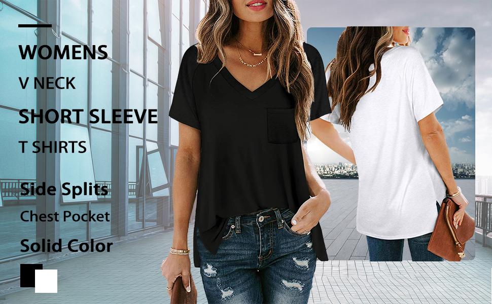 Women's V Neck Short Sleeve Pocket T Shirts Casual Summer Cute Loose Side Slit Tops Basic Tees