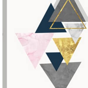 pink art print with grey, gold and navy