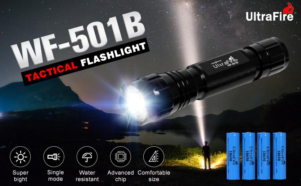 Details about  /Silver ultrafire led flashlight single mode AA or 14500 Li-Ion battery type