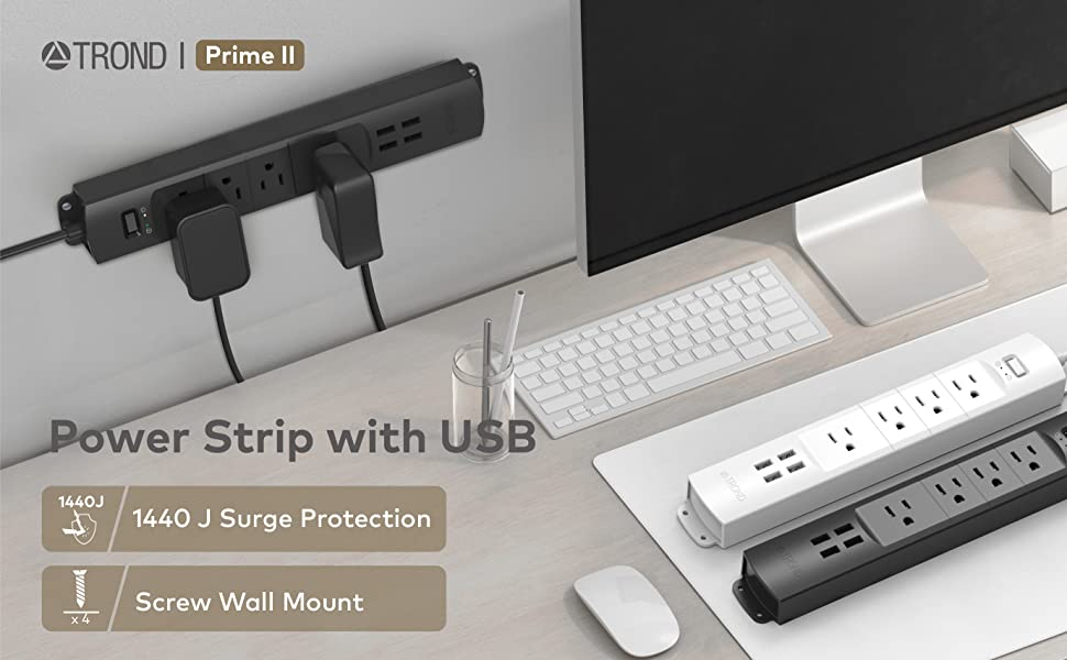 prime II 3ft short cord power strip with usb