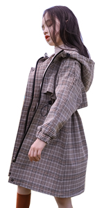 Plaid hooded trench coat