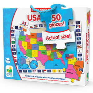 jumbo puzzle; learning; educational; education; school; learn; toddler; USA puzzle; 50 pieces