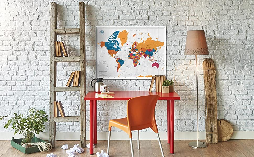 Hero image with colorful world map poster on wall