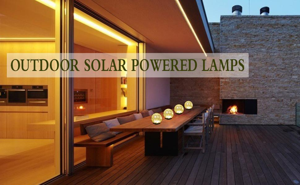 Outdoor solar powered lamps