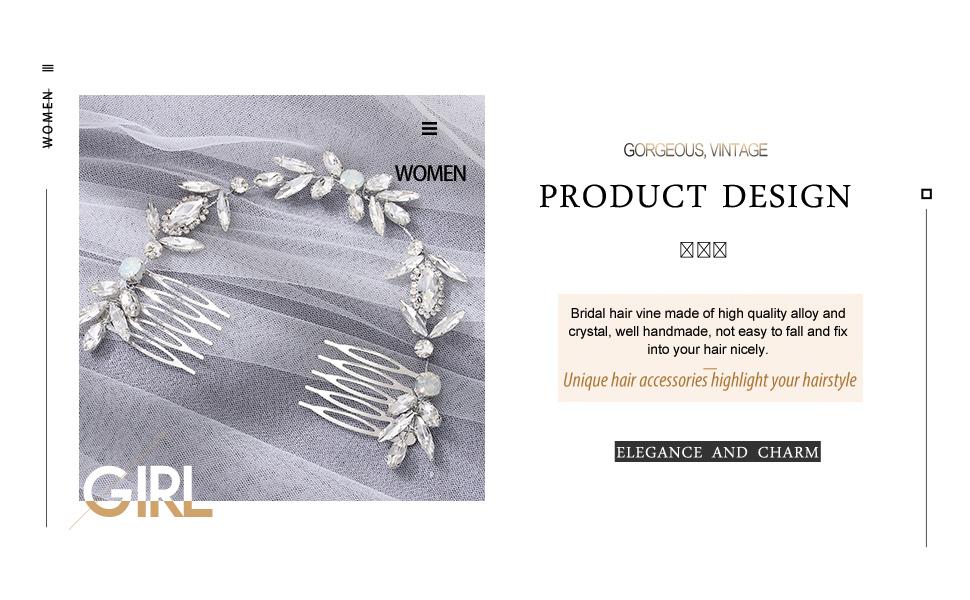 silver bridal hair comb bridal combs for hair silver  bridal accessories for hair crystal pieces