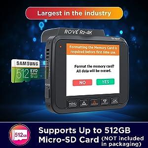 rove r2-4k dash cam support memory card up to 512 gb for car cameras dash cams