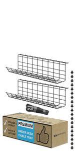 Scandinavian Hub under desk cable management tray black cord organizer for wires wire organizer