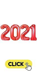 2021 red graduation balloons